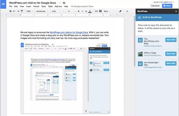 WordPress ekstenzija Google Docs