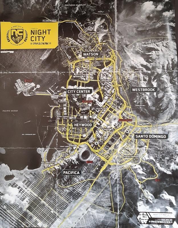 fizička mapa Night Cityja